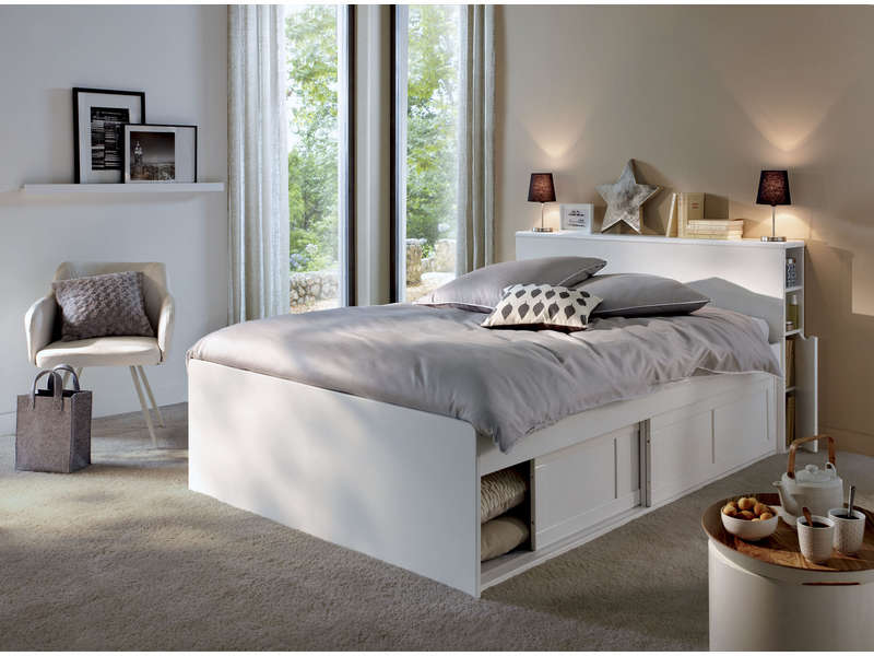 lit adulte 140x190 cm belem lit conforama pas cher ventes pas. Black Bedroom Furniture Sets. Home Design Ideas