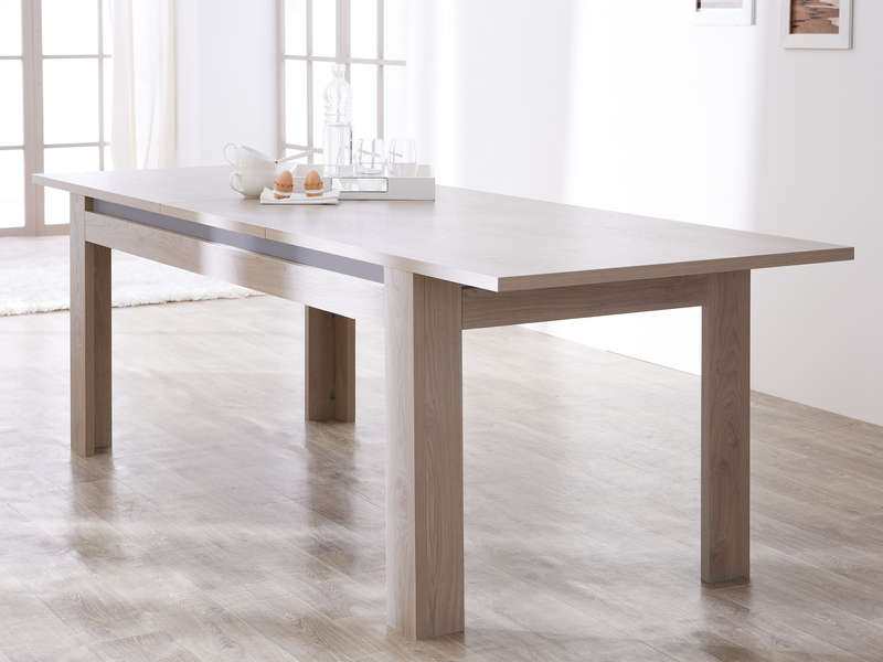 Table de s jour 190 cm malo coloris ch ne gris table for Table a manger avec rallonge integree