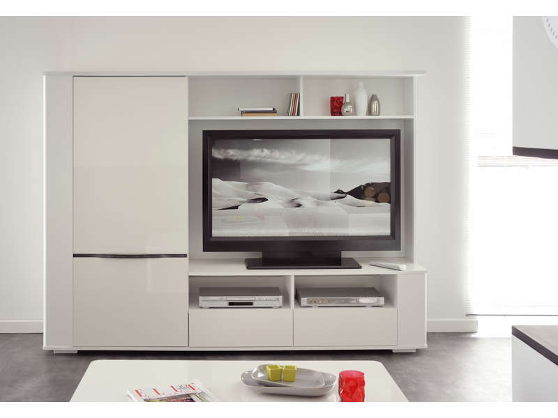 Meuble TV Coloris blanc  Meuble Tv pas cher Conforama  Ventespaschercom -> Meuble Tv DAngle Blanc Conforama