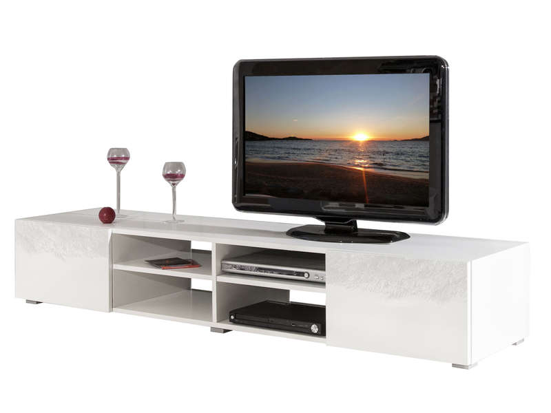 meuble tv rayan coloris blanc laqu meuble tv conforama ventes pas. Black Bedroom Furniture Sets. Home Design Ideas