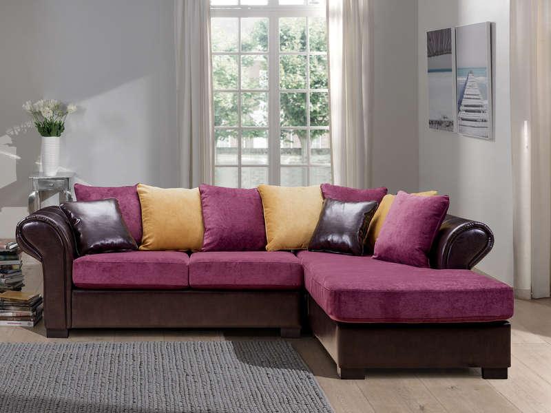 Canapé d'angle fixe 6 places BALI coloris multicolore - Canapé Conforama pas cher