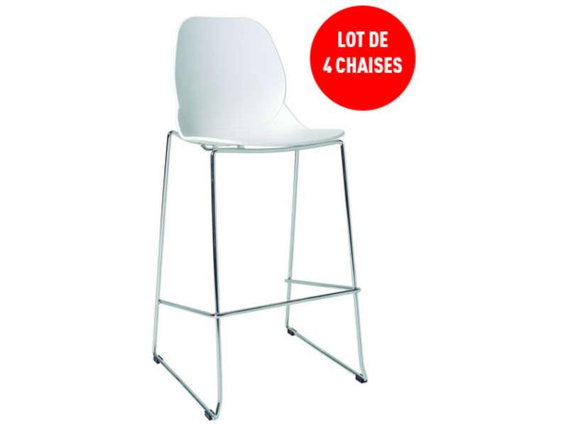 lot de 4 tabourets de bar adan coloris blanc tabouret de. Black Bedroom Furniture Sets. Home Design Ideas