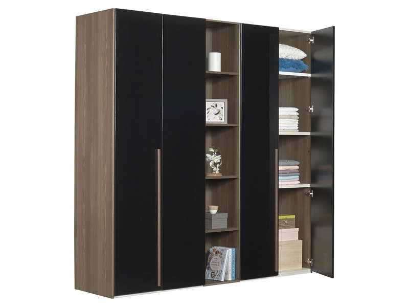 armoire 4 portes battantes pablo pas cher armoire. Black Bedroom Furniture Sets. Home Design Ideas