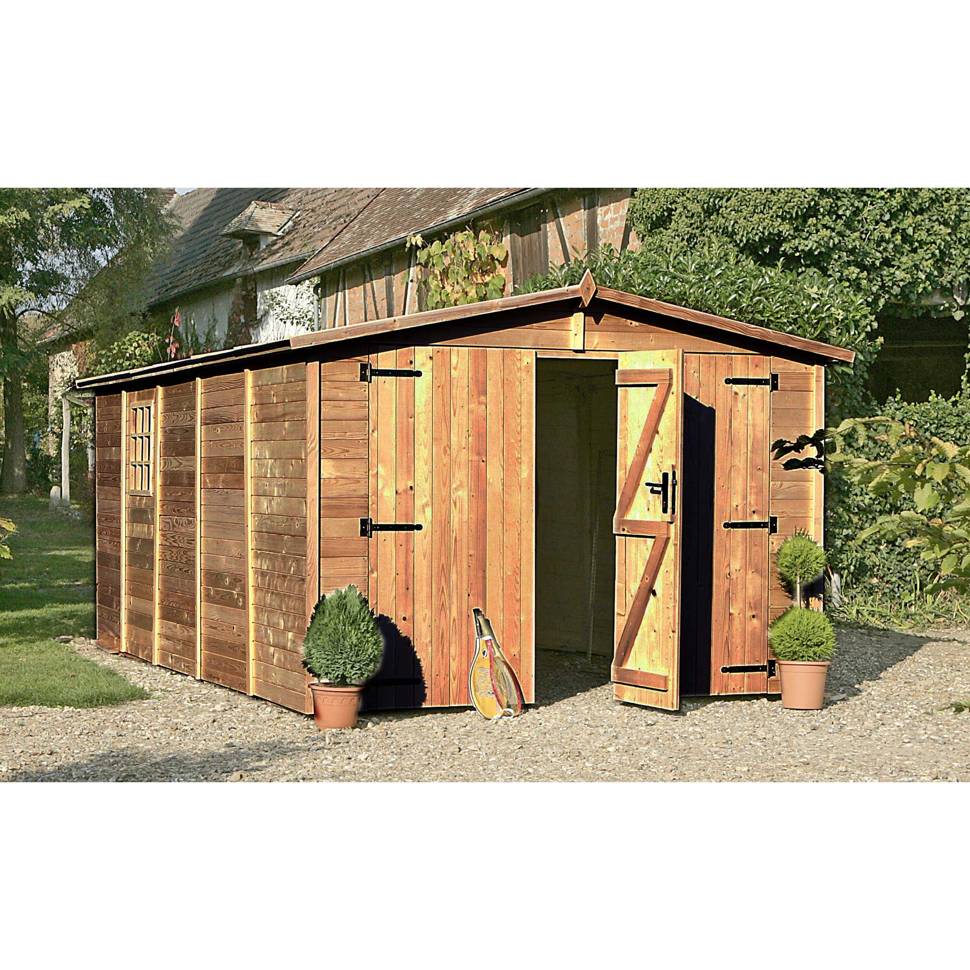 garage de jardin delamaison garage de jardin bois albatros double porte ventes pas. Black Bedroom Furniture Sets. Home Design Ideas