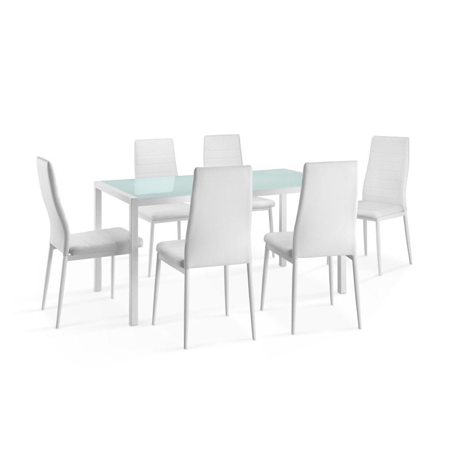 Delamaison ensemble table manger rectangulaire air m tal et verre 6 chaises polyu thane - Chaise table a manger pas cher ...