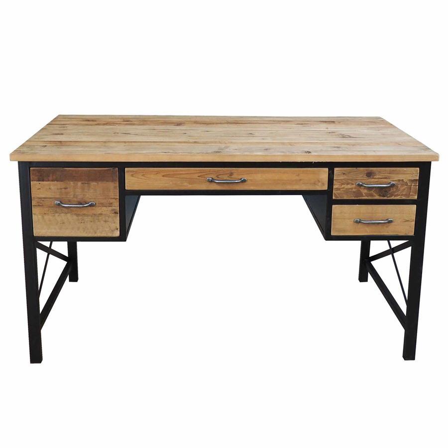 bureau metal bois. Black Bedroom Furniture Sets. Home Design Ideas