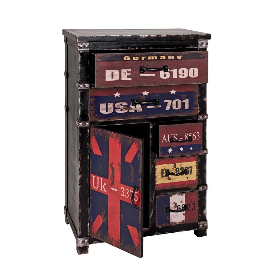 commode en bois flag 5 tiroirs et 1 porte commode delamaison ventes pas. Black Bedroom Furniture Sets. Home Design Ideas