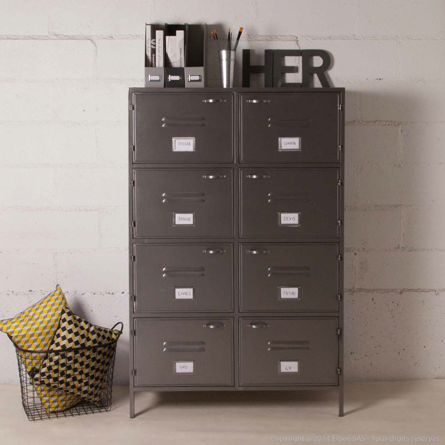 biblioth que 8 casiers en m tal gris decoclico factory. Black Bedroom Furniture Sets. Home Design Ideas