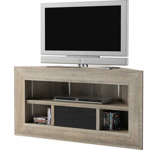 Meuble tv d 39 angle ch ne gris brooklyn meuble tv destock for Meuble tv d angle