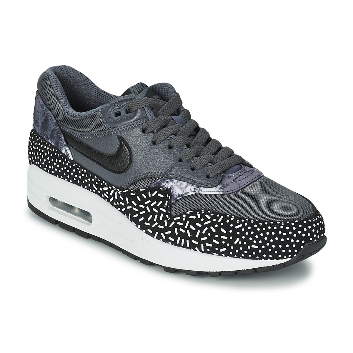 baskets basses nike air max 1 print noir blanc baskets femme spartoo ventes pas. Black Bedroom Furniture Sets. Home Design Ideas