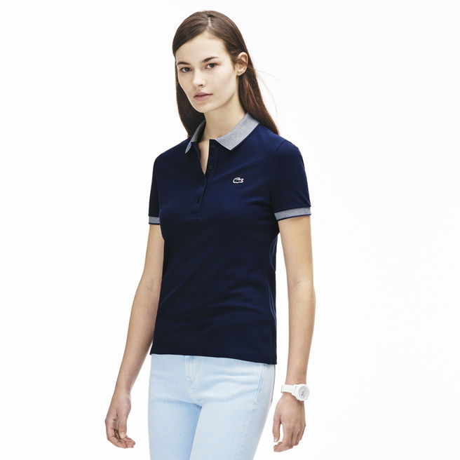 Polo uni en coton stretch Lacoste - Polo Femme Lacoste