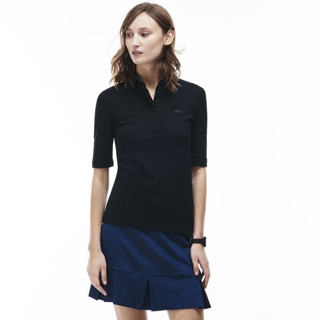 polo chemise lacoste uni manches trois quarts polo femme lacoste ventes pas. Black Bedroom Furniture Sets. Home Design Ideas