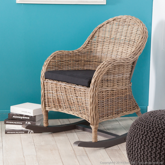 rocking chair delamaison rocking chair en rotin de kubu et tissu noir pieds bascule hoani. Black Bedroom Furniture Sets. Home Design Ideas