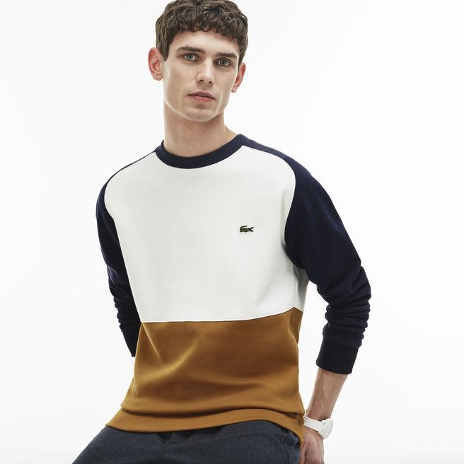 Sweatshirt Lacoste en molleton piqué de coton color block