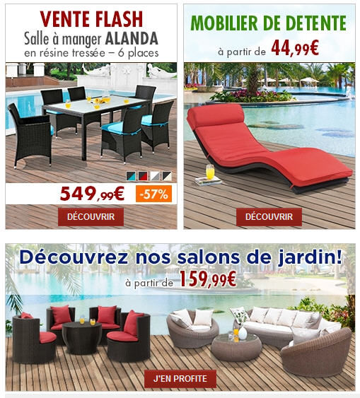 salon de jardin pas cher vente unique 1er prix. Black Bedroom Furniture Sets. Home Design Ideas
