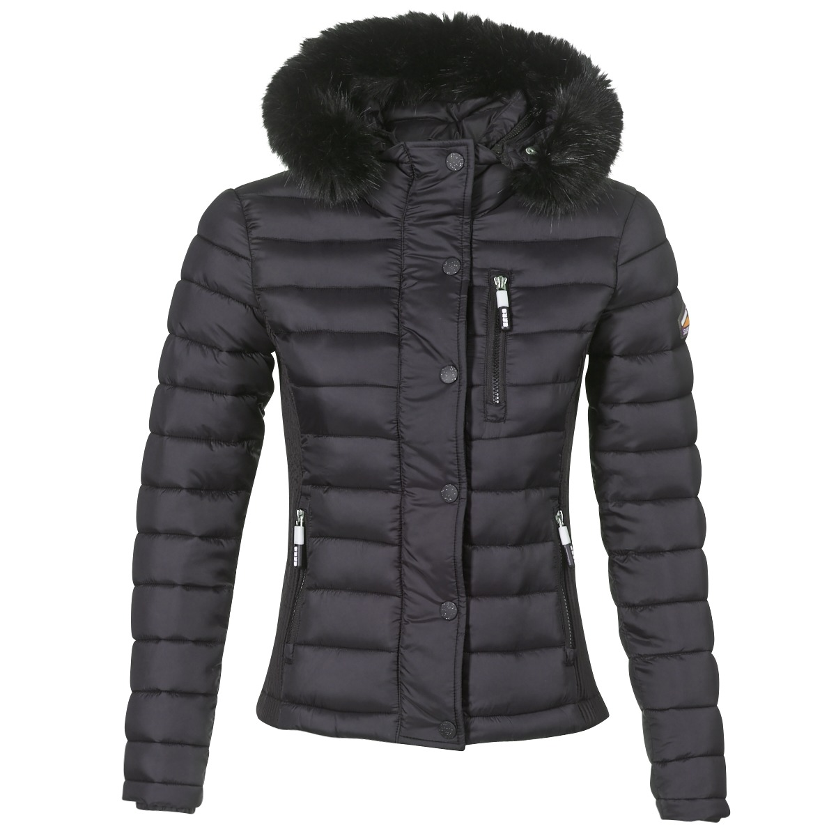 Superdry FUJI SLIM DOUBLE ZIPHOOD Doudoune Noir