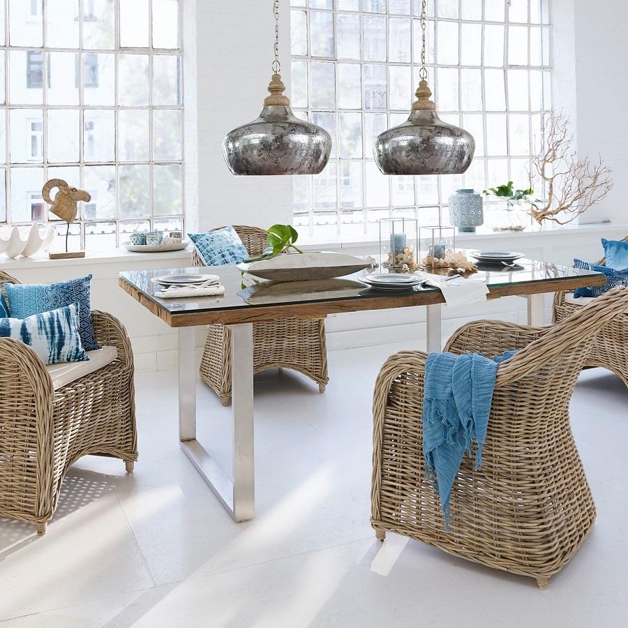 Table De Salle A Manger Pas Cher: Table Malroy Marron/couleur Argent