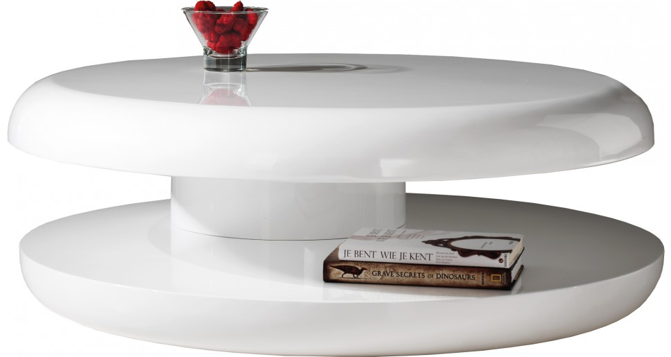 Table basse design ronde laque blanche plateau tournant for Table de sejour ronde