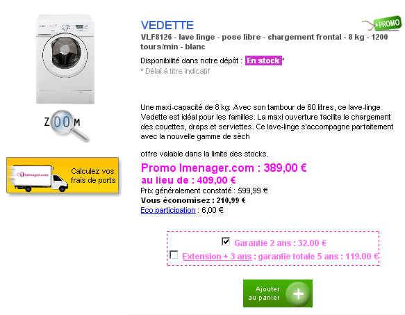 promo lave linge frontal vedette vlf8126 eur chez imenager ventes pas. Black Bedroom Furniture Sets. Home Design Ideas