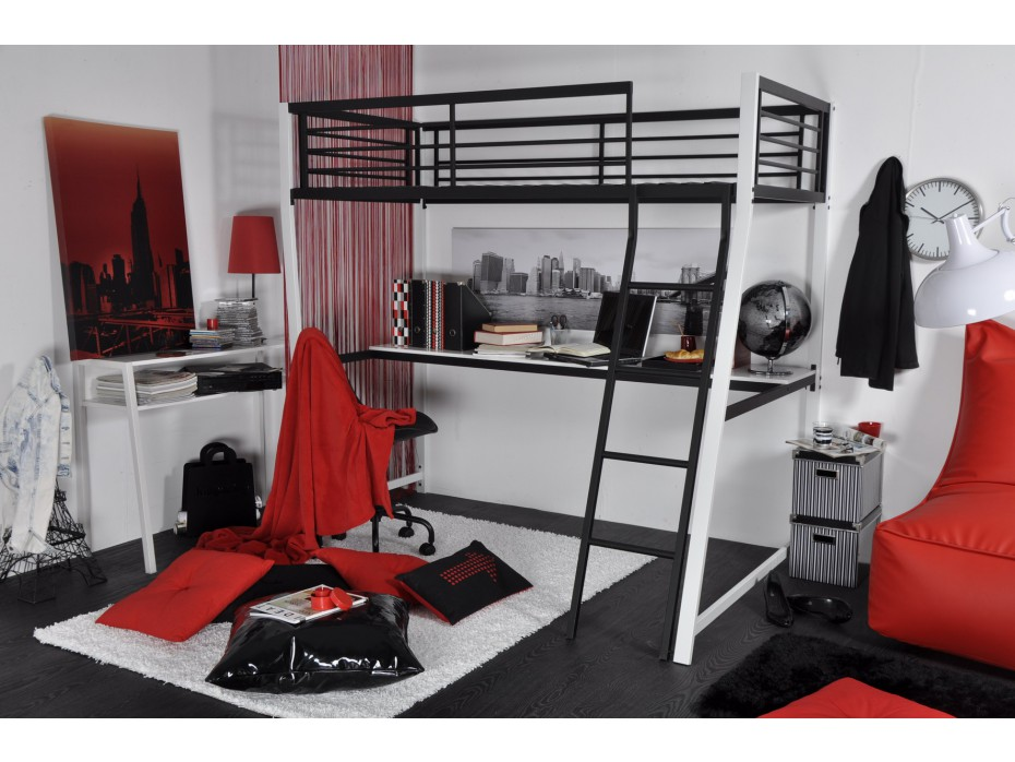 lit mezzanine malicio pas cher lit vente unique ventes. Black Bedroom Furniture Sets. Home Design Ideas