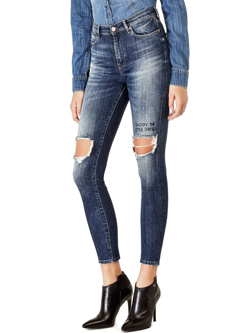 JEAN SKINNY DECHIRURES Guess - Jeans Femme Guess
