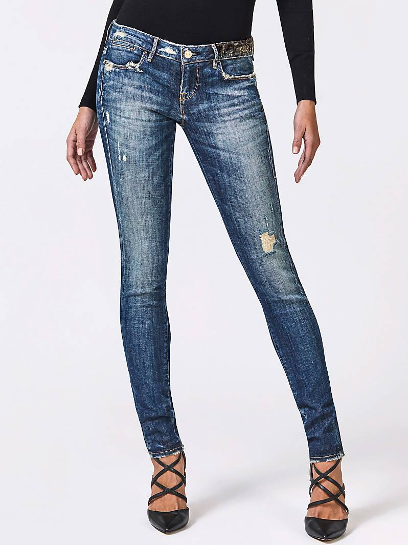 JEGGING DÉCHIRURES FRONTALES STRASS Blue Guess