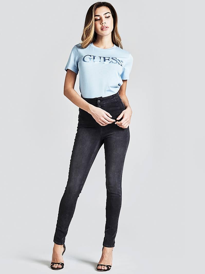 JEGGING SKINNY BOUTONS Bleu Foncé Guess Jeans Femme Guess
