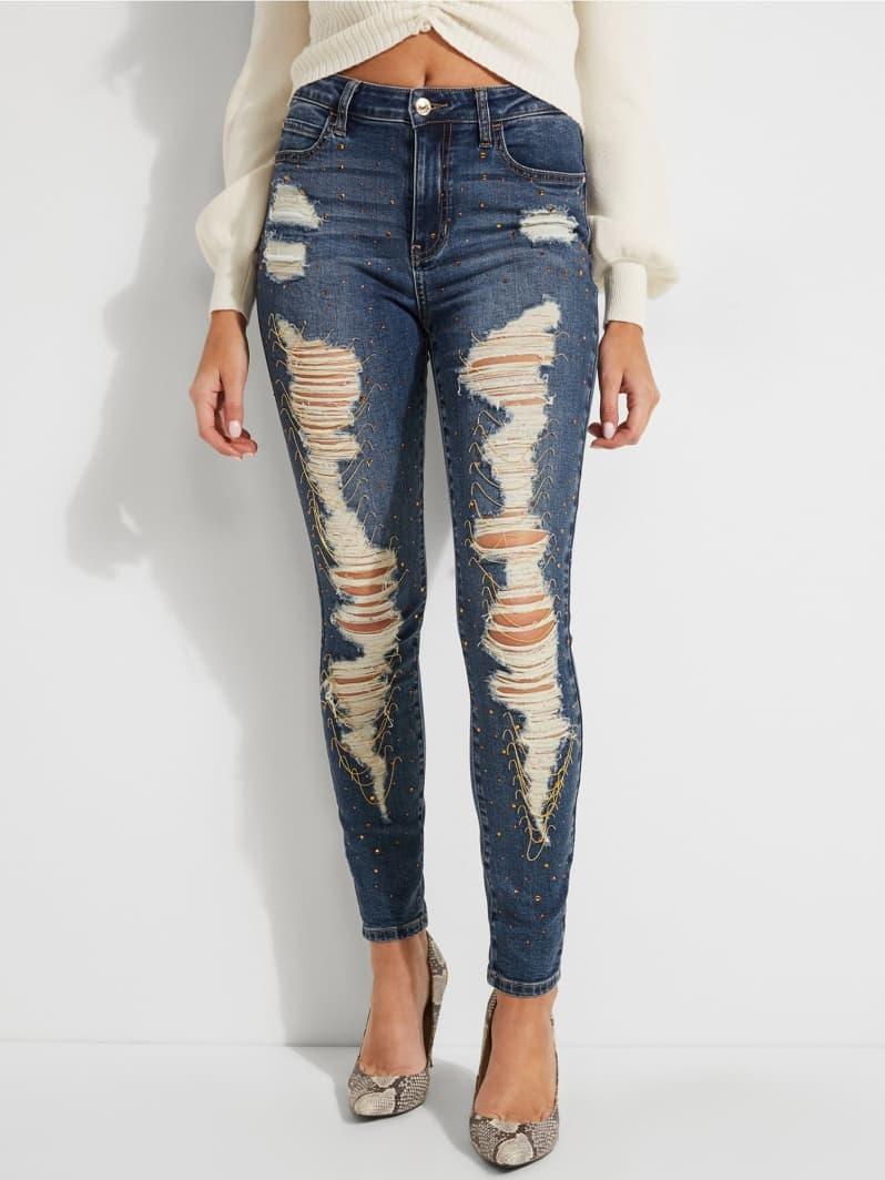 JEAN SKINNY ABRASIONS Bleu Multi Guess pas cher Jeans