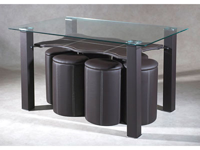 Table conforama table en verre 6 poufs hexassi prix - Table basse avec pouf conforama ...