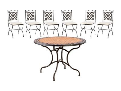 Salon complet ensemble table 6 chaises salon de jardin for Ensemble table 6 chaises pas cher
