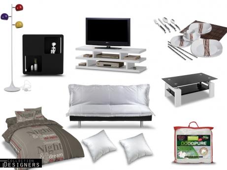vente unique pack tout pour mon studio clic clac en tissu argent prix 599 99 euros ventes. Black Bedroom Furniture Sets. Home Design Ideas