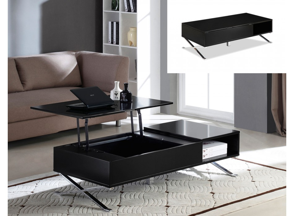 Table basse vente unique table basse alpha plateau - Table basse noir laque pas cher ...