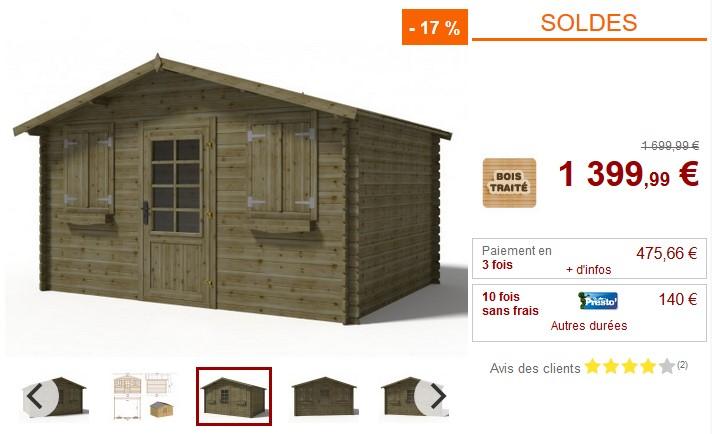 Abri de jardin JOTEA 12m² en bois traité classe III 28mm - Vente Unique