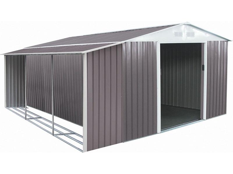 Abri de jardin métal Dallas 15,16 m² avec abri bûche - ManoMano