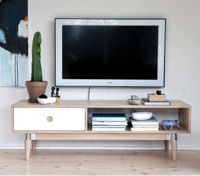 acky meuble tv scandinave plaqu ch ne naturel laqu blanchi pas cher meuble tv cdiscount. Black Bedroom Furniture Sets. Home Design Ideas