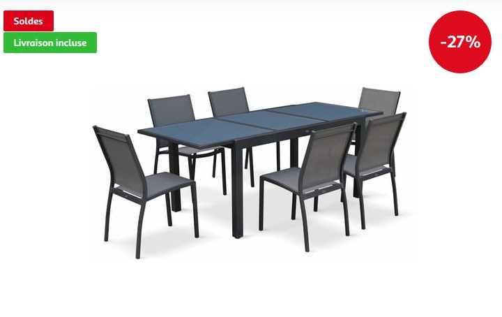 Salon de jardin table extensible Orlando pas cher - Soldes Salon de ...