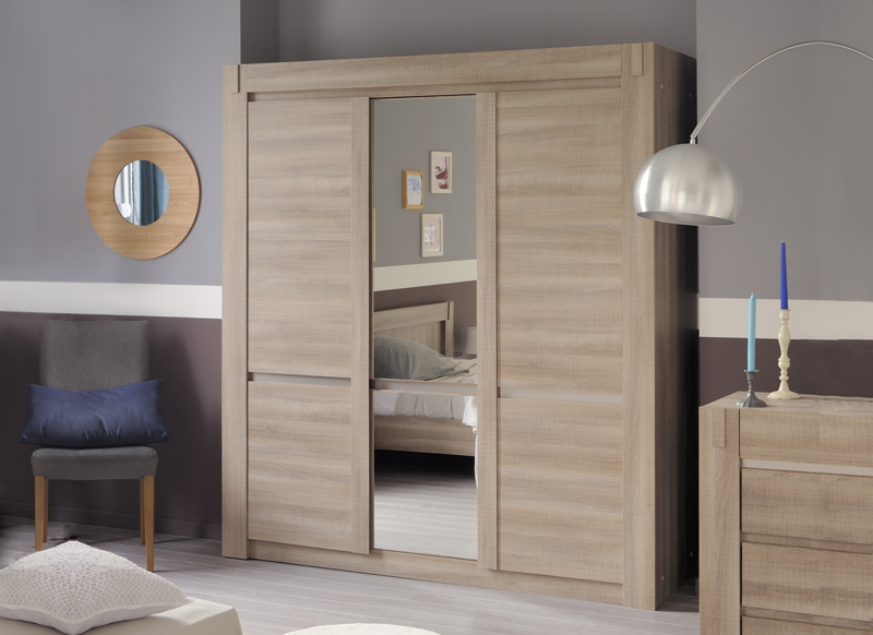 armoire avec miroir bois valia armoire achatdesign. Black Bedroom Furniture Sets. Home Design Ideas