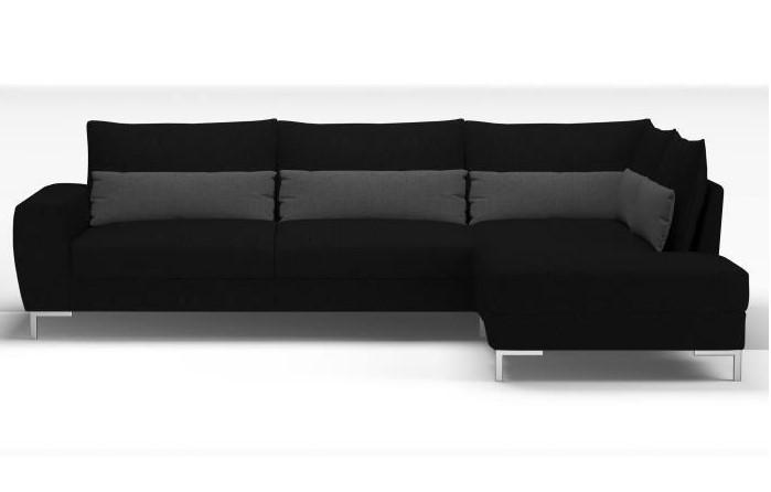 ARISS Canapé d'angle panoramique 4 places Tissu Noir et anthracite Contemporain - Cdiscount