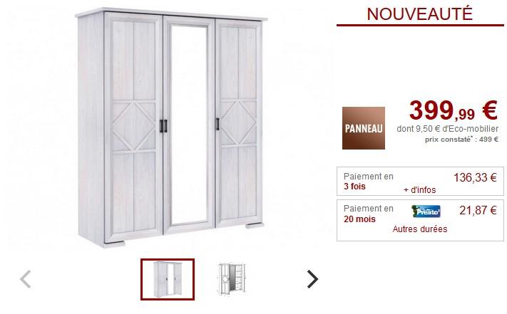 Armoire avec miroir MAELIS 3 portes blanchi - Vente Unique