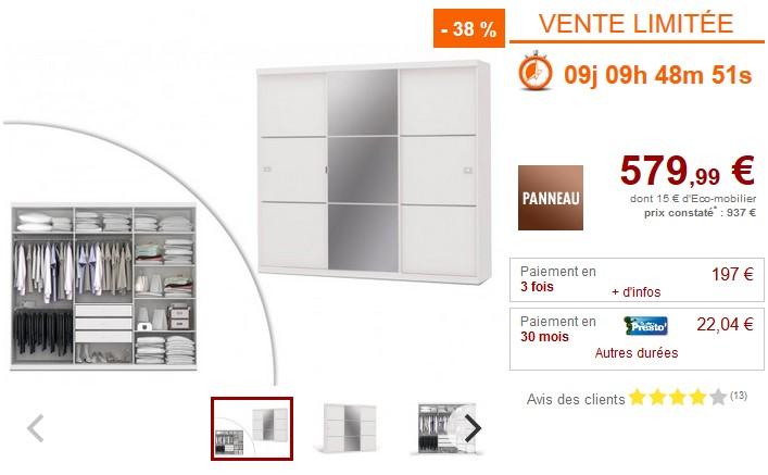 Armoire avec miroir VALMAR 3 portes coulissantes Blanc - Vente Unique