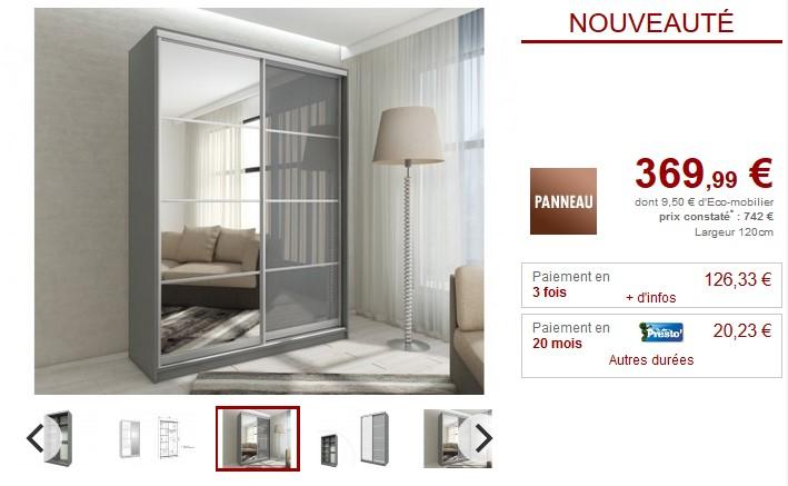 Armoire avec miroir YELENA 2 portes coulissantes - Vente Unique