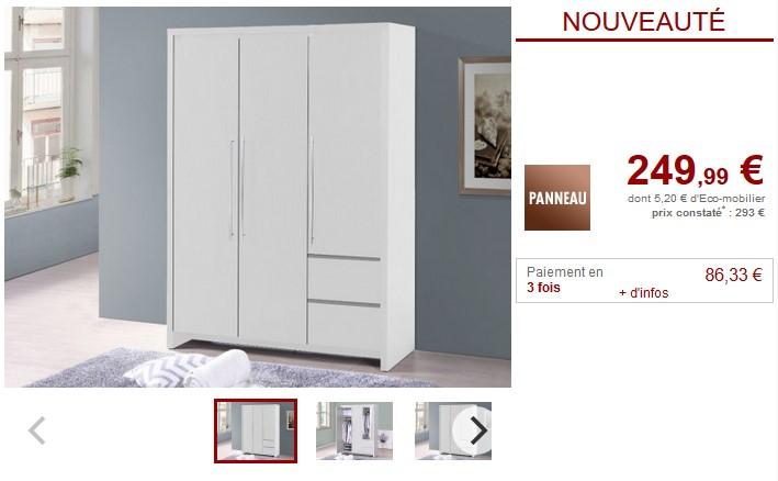 Armoire ISIS 3 portes et 2 tiroirs Wengé ou blanc - Vente Unique