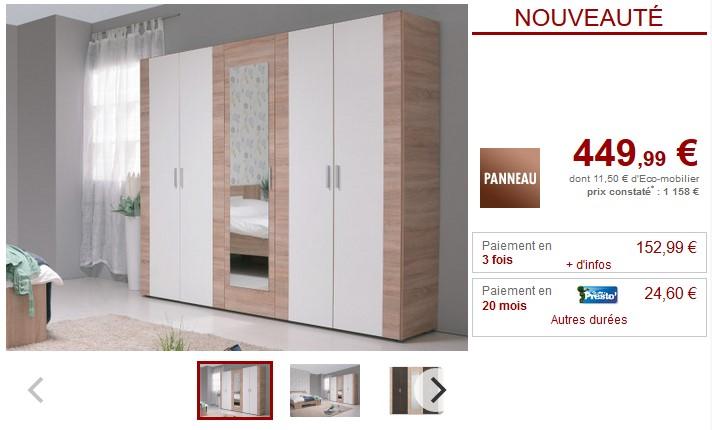 Vente unique top promo vente unique meubles et deco pas for Armoire 5 portes pas cher