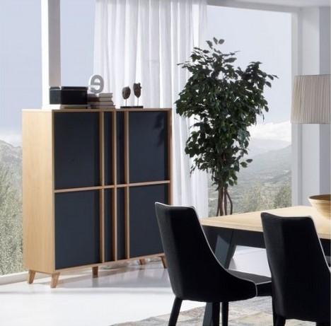 Armoirette 4 portes moderne Mondrian Meubles HELLIN - Buffet Conforama