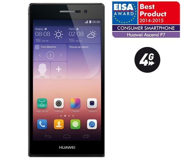 huawei ascend p7 16 go 4g noir smartphone pas cher. Black Bedroom Furniture Sets. Home Design Ideas
