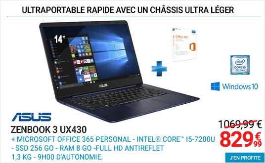 ASUS ZenBook Plus UX430 Bleu métal pas cher - Ordinateur Portable Rue du Commerce