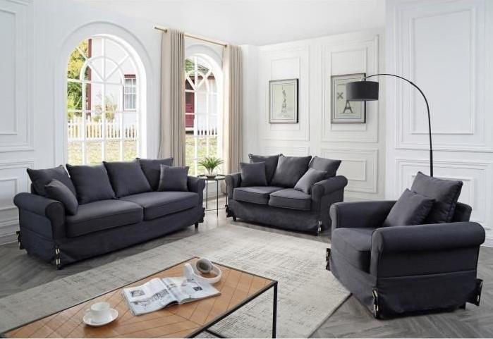 AUGUSTE Ensemble Canapés droit fixe 3 + 2 places + fauteuil Tissu lin gris Classique - Cdiscount