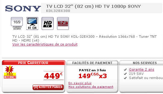 tv lcd 32 39 hd tv 1080p sony kdl32bx300 prix 449 euros ventes pas. Black Bedroom Furniture Sets. Home Design Ideas