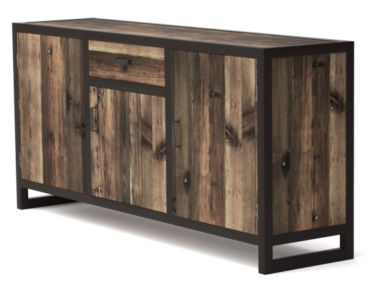 bahut 3 portes koroco de style industriel en bois et m tal buffet mobilier moss ventes pas. Black Bedroom Furniture Sets. Home Design Ideas
