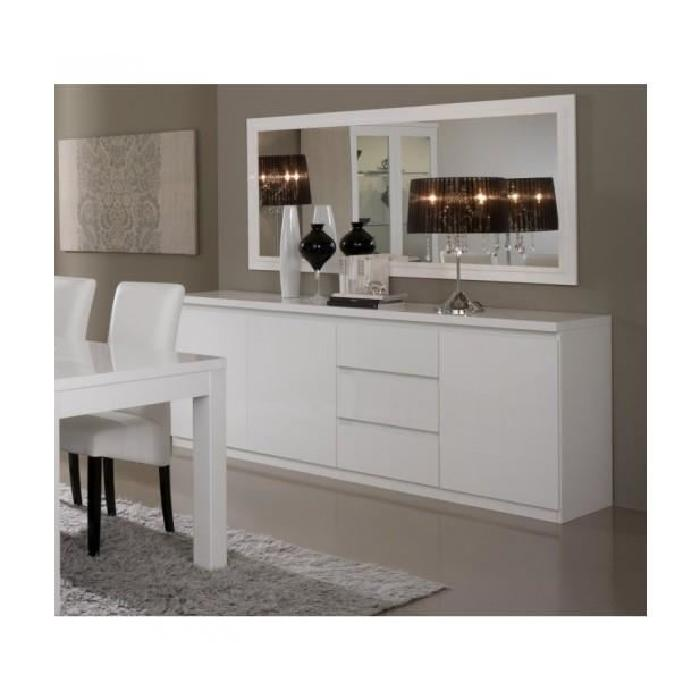 bahut roma laque blanc pas cher buffet cdiscount soldes. Black Bedroom Furniture Sets. Home Design Ideas